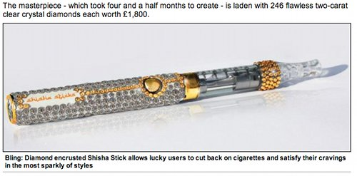Electronic cigarette encrusted with diamonds and crystals.