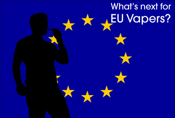 Silhouette of a vaper against an EU flag. Text says: