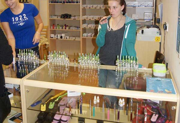 Emma and Emily at the ECigaretteDirect store in Bridgend.
