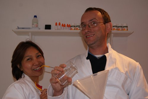 Me and my assistant, in lab coats, in the ecigarettedirect lab.