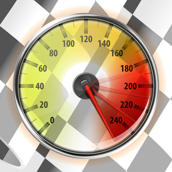 Speedometer showing a red needle in different places in the maximum zone.