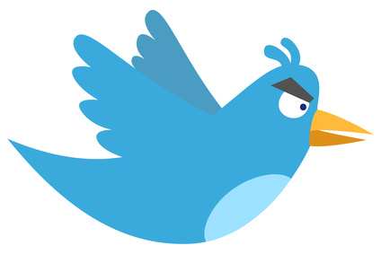 Twitter logo redrawn as angry blue bird.