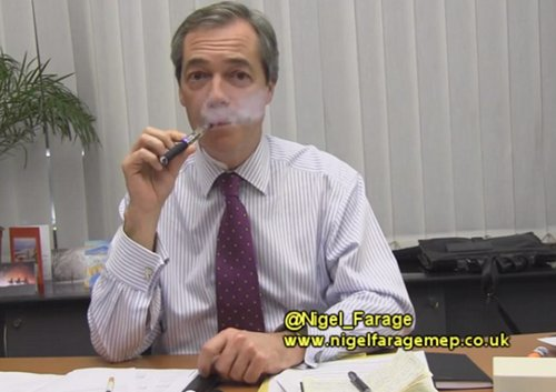 Nigl Farage with an ecigarette.