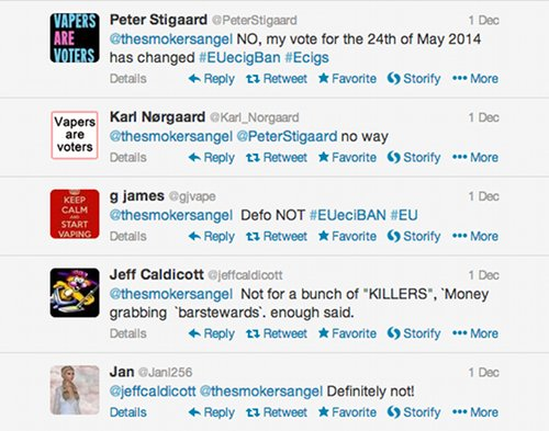 Tweeters saying they will change vote because of proposed ban on ecigs.