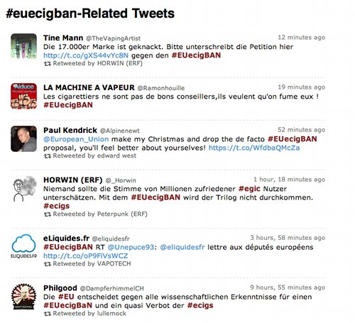 Tweets about the #euecigban in different languages.