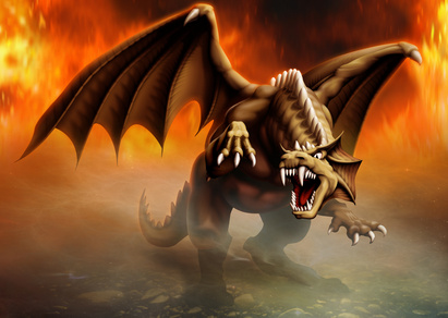 A dragon attacks against a fiery red background.