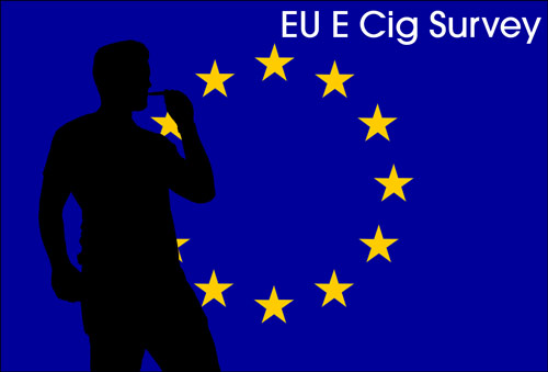 Silhoute of a vaper on an Eu flag. Reads: EU Ecig Survey.