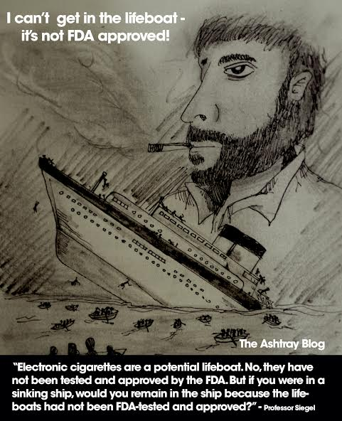 "Image of a man on a boat looking at a lifeboat. Reads: ""I can't get in the lifeboat - it's not FDA approved."""