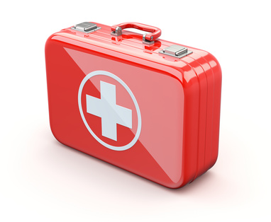 Cartoon image of a red first aid kit.