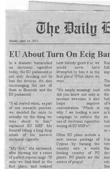 EU changes tune on ecigarettes.