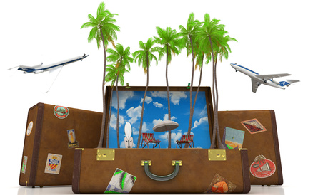 Cartoon image of palm trees growing from a suitcase with planes in the background.