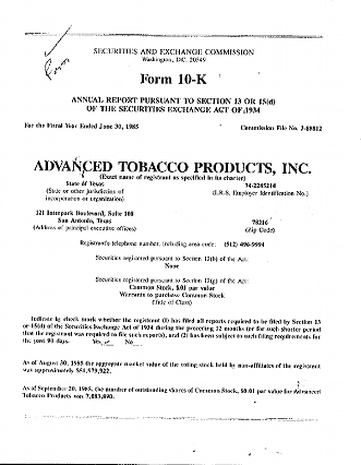 A photo of the Advanced Tobacco's Annual Report.