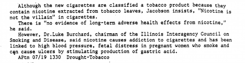 A 1980's newspaper clipping highlighting objections to the Favor cigarette.