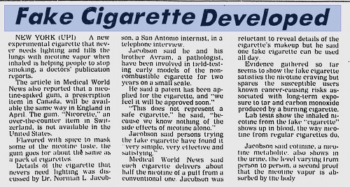 Image from a 1980's newspaper announcing the development of vaping.