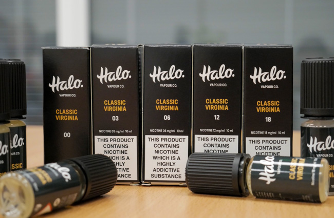 Bottles of Halo Vapour Co e-liquid.