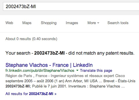 Screen grab of a search for the Vlachos ecig patent.