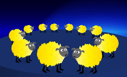 Sheep in a circle above the dark blue of the EU flag.