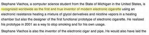 A capture of a page from Wikipedia claiming Stephen Vlachos is the inventor of the ecigarette.