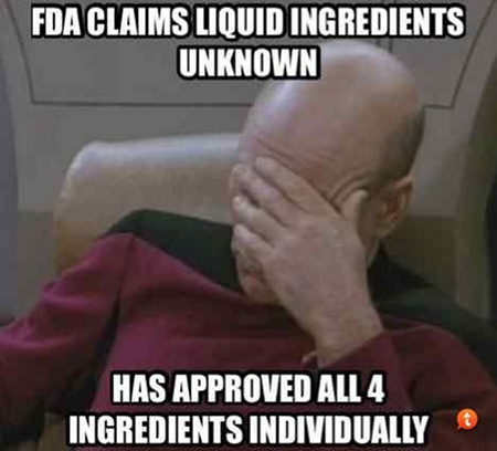 "Startrek image: Reads ""FDA claims liquid ingredients unknown - has approved all 4 ingredients individually."""