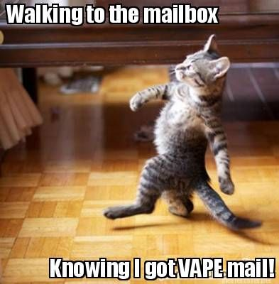 Walking to the mailbox, knowing I got vape mail!
