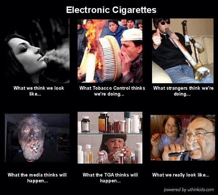 Images showing different perceptions of vaping.