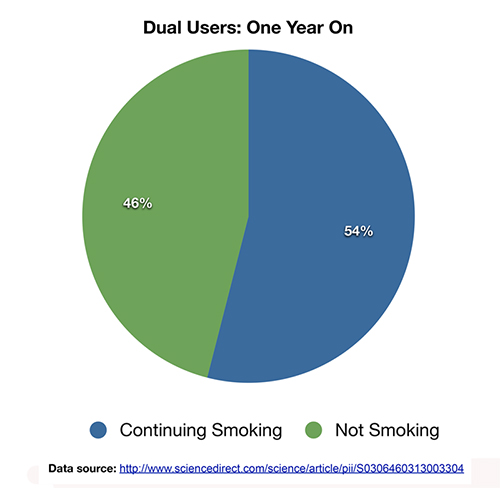 Pie chart showing the percentage of dual users and vapers one year on.