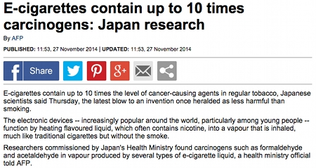 Daily Mail headline claiming ecigs have 10 times as many carcinogens as tobacco cigs.