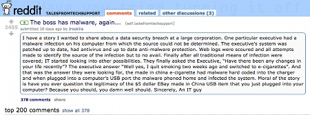 The original reddit malware post.