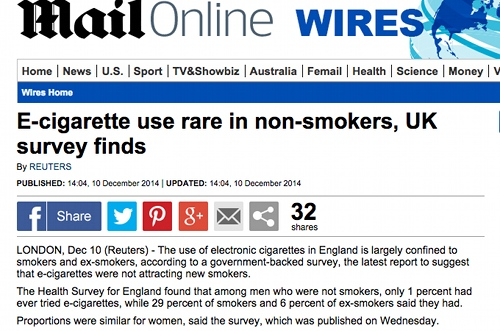 Ecig use rare in non-smokers story.