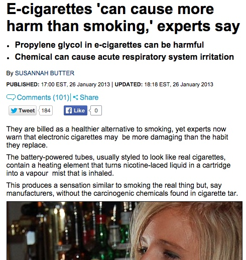 Ecigs cause more harm than smoking.