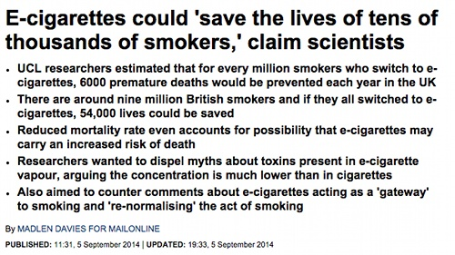 Ecigs could save thousands Daily Mail story.