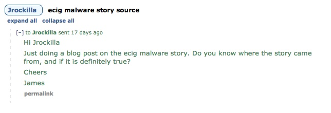 Reddit message querying ecig malware story.