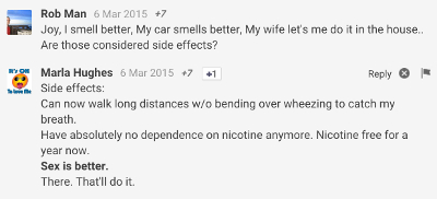 Positive side effects of ecigs discussed on G+.