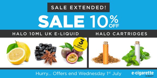 Sale: 10% Off E-Liquid & Cartridges + New Flavours