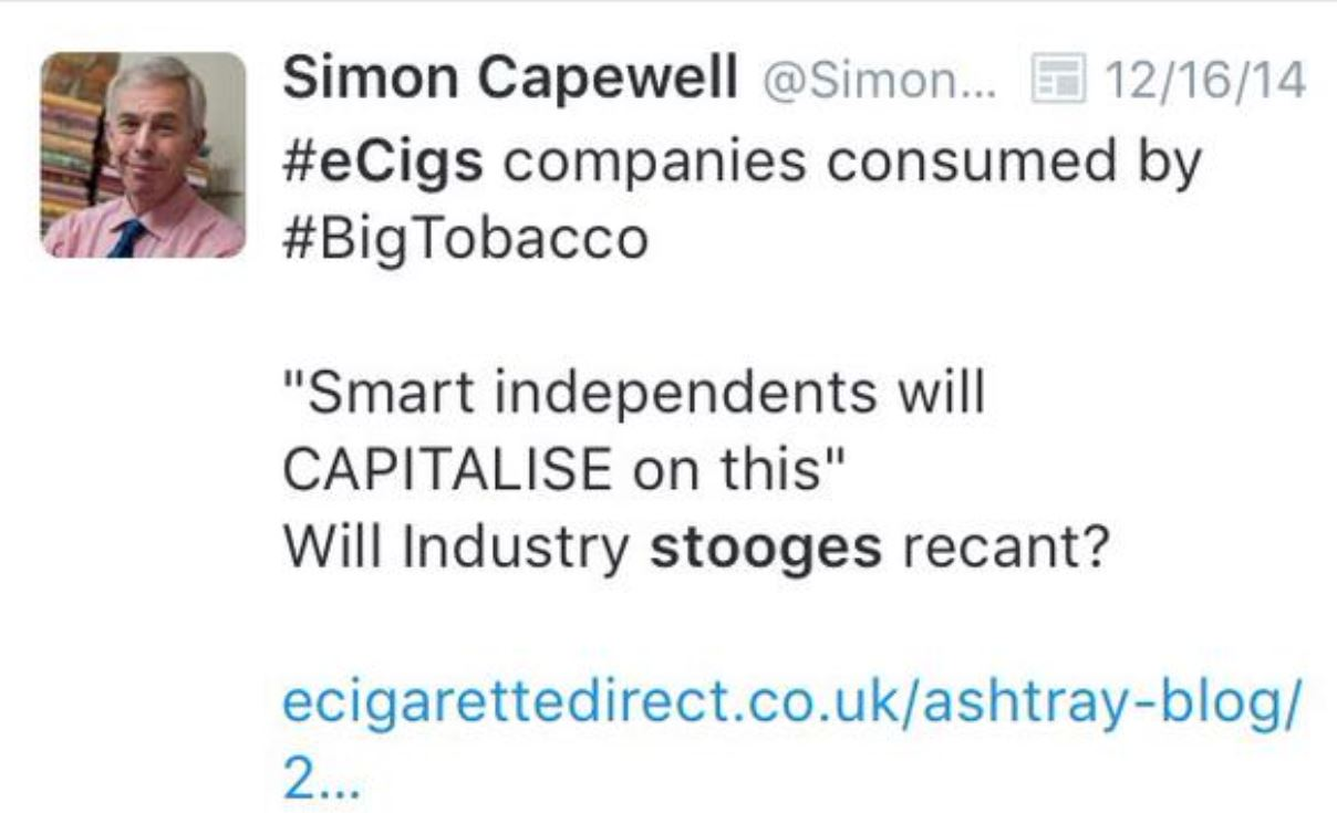 Capewell: ecig companies will be consumed by big tobacco.