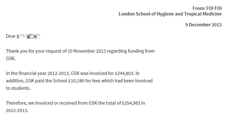Funds received from GSK.