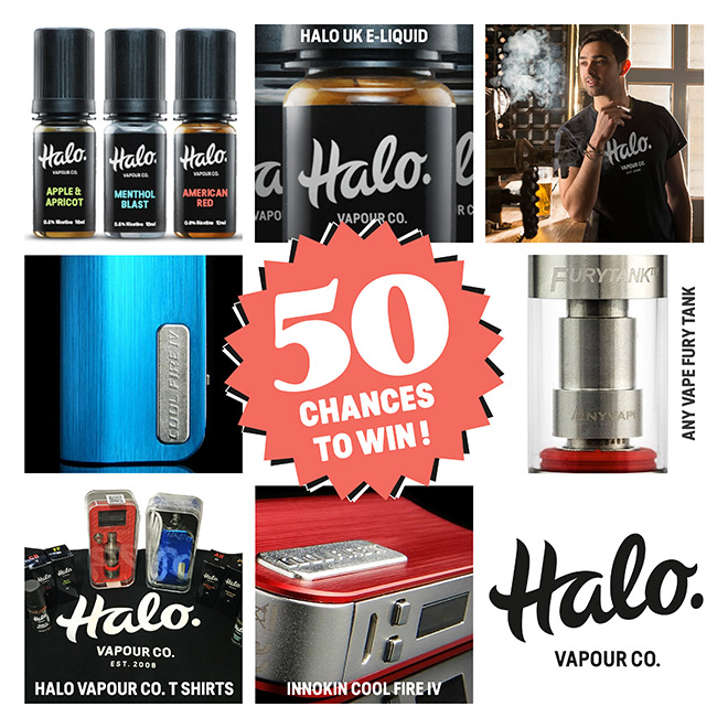 Compilation of prizes, inclluding Halo e-liquid, Coolfire IV and the Fury Tank.