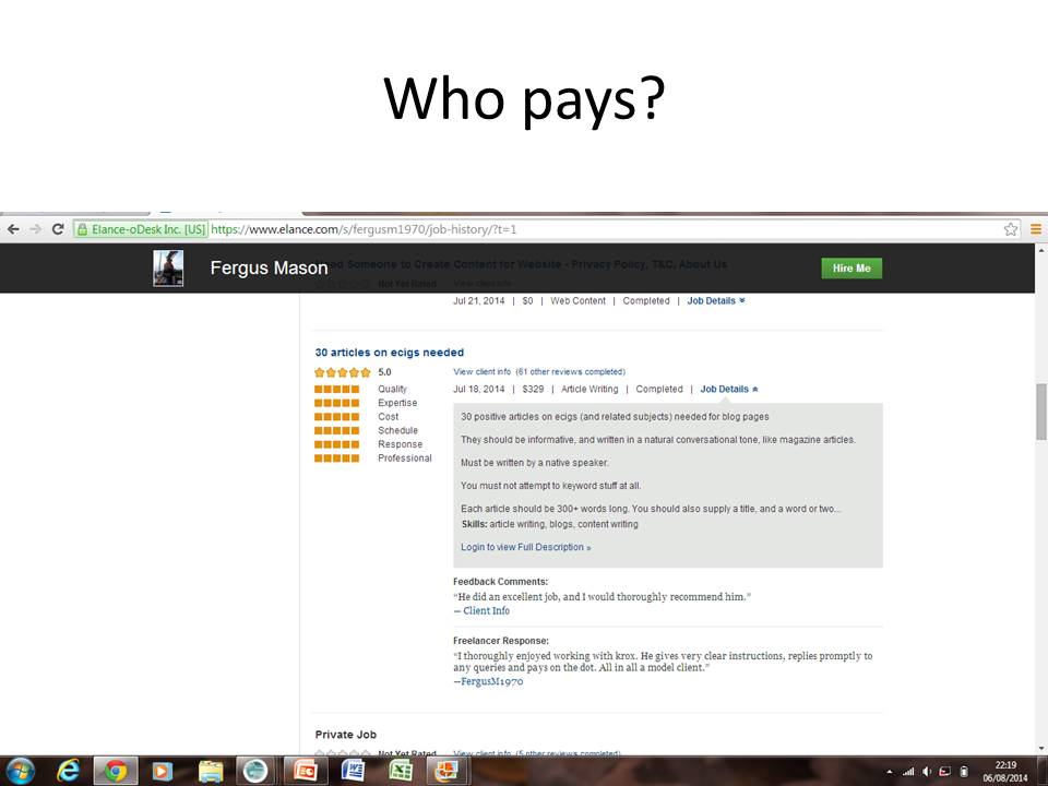 Slide shot showing the author has been paid for writing e-cig articles.