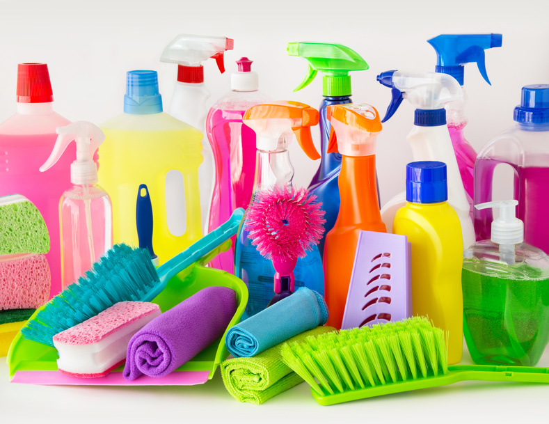 Cleaning bottles and detergents.