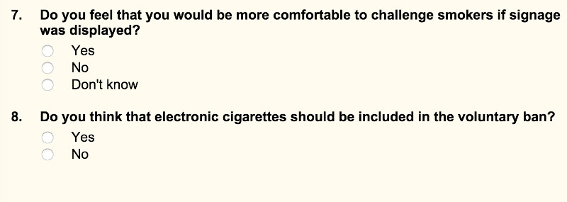 Suggested ban on e-cigs in public places.