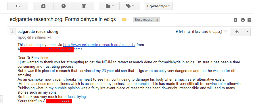 An email from a woman whose son is concerned about e-cigs.