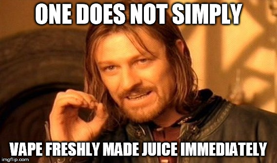 Reads: One does simply vape freshly made juice immediately.