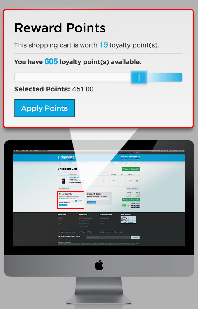 Points slider on checkout page.