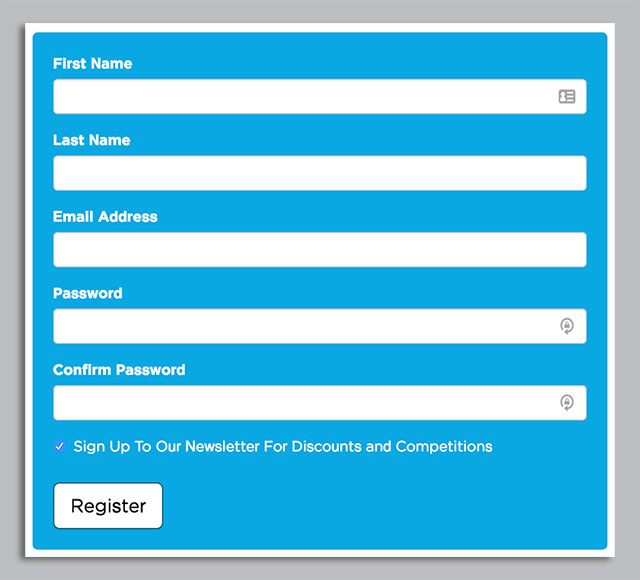 Registration form on ECigaretteDirect.