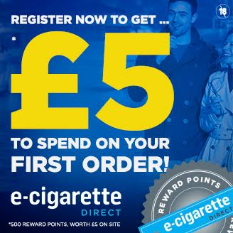 £5.00 in reward points to spend on your first order in E-Cigarette Direct..