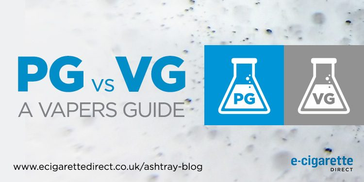 PG v. VG: Featured image showing a bottle of propylene glycol and a bottle of vegetable glycerine.