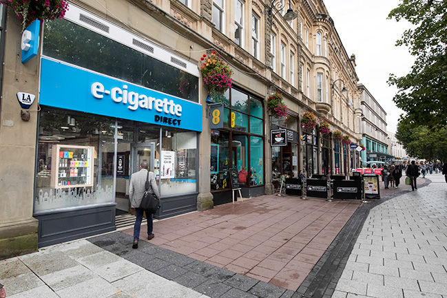 On street view of E-Cigarette Direct on Queen's Street, Cardiff.