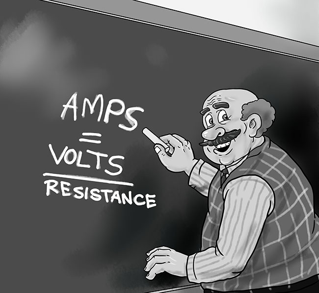 Illustration professor teaching Ohms law