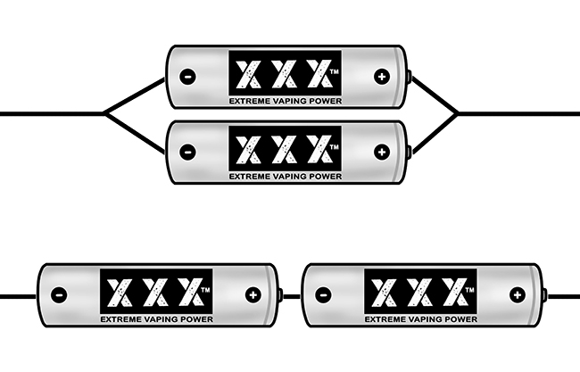 Illustration showing series and parallel battery arrangements