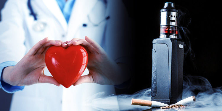 Woman in doctor's uniform holds a heart next to a vape.